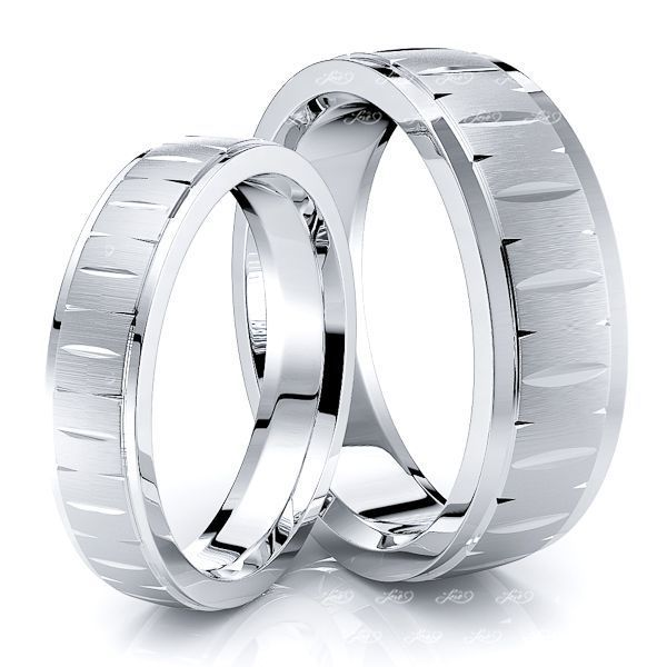 Fish Eye Cut Matching 7mm His and 5mm Hers Wedding Ring Set