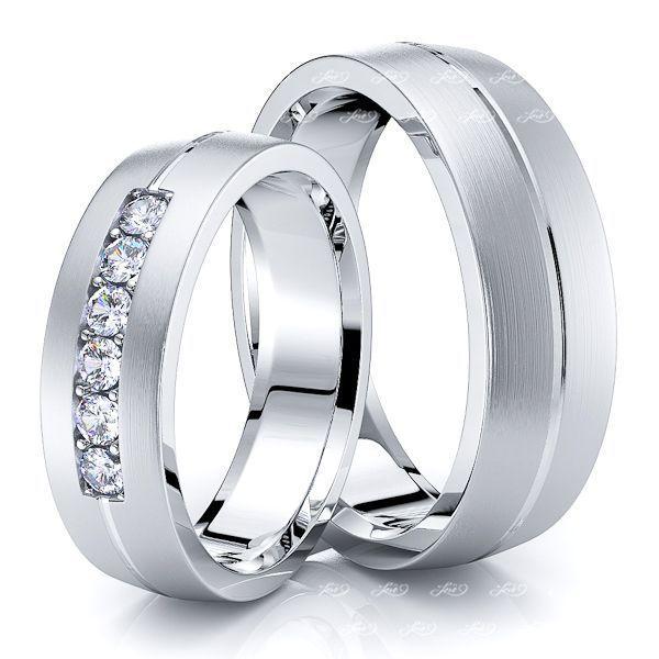 0.30 Carat Single Rail 6mm His and Hers Diamond Wedding Band Set