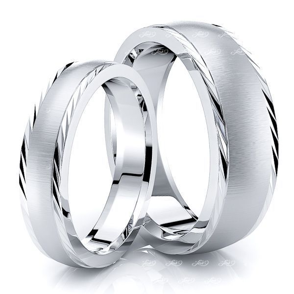 Diagonal Cut Edge Matching 7mm His and 5mm Hers Wedding Ring Set