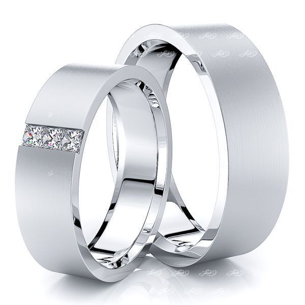 0.15 Carat Princess Cut Flat 6mm His and Hers Diamond Wedding Band