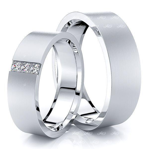 0.15 Carat Princess Cut Flat 6mm His and Hers Diamond Wedding Band