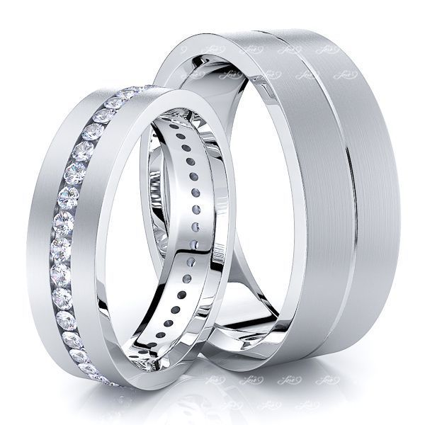 0.60 Carat Flat 7mm His and 5mm Hers Diamond Wedding Ring Set