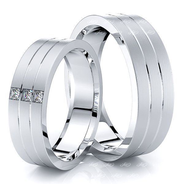 0.12 Carat Parallel Cut 6mm His and Hers Diamond Wedding Band Set