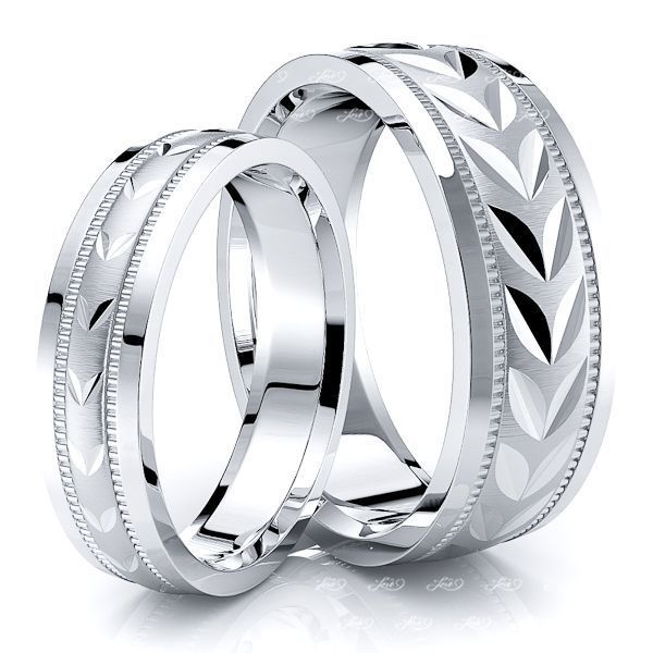 Leaf Design Matching 7mm His and 5mm Hers Wedding Ring Set
