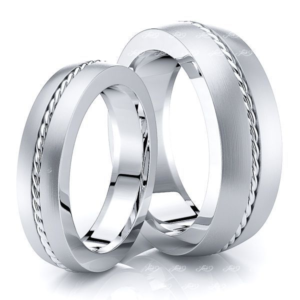 Braided Matching 7mm His and 5mm Hers Wedding Ring Set