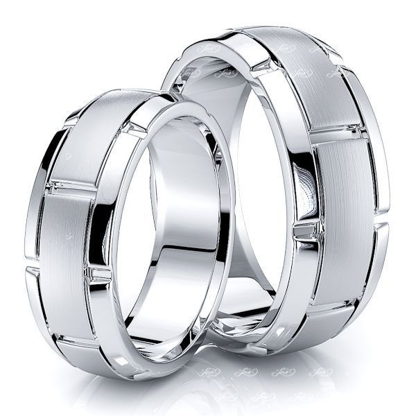 7mm Designer Matching His and Hers Wedding Ring Set