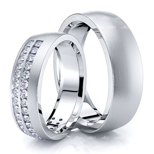 0.60 Carat 6mm Designer Modern His and Hers Diamond Wedding Band Set