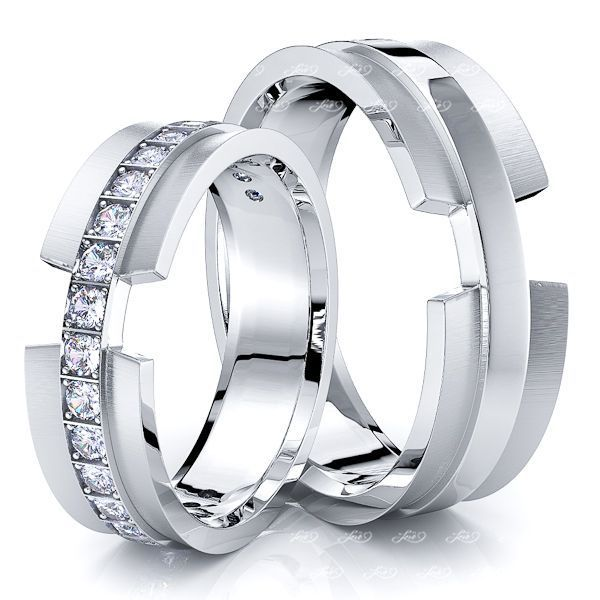 0.30 Carat 6mm Designer Concave His and Hers Diamond Wedding Band Set