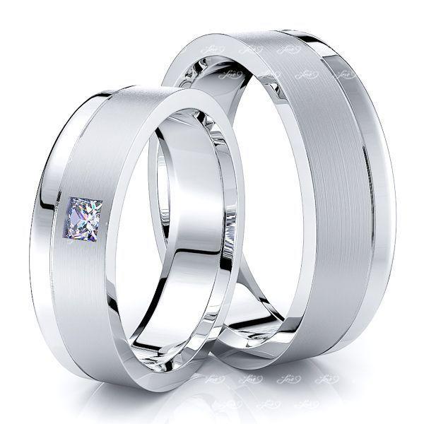 0.10 Carat Princess Cut 6mm His and Hers Diamond Wedding Ring Set