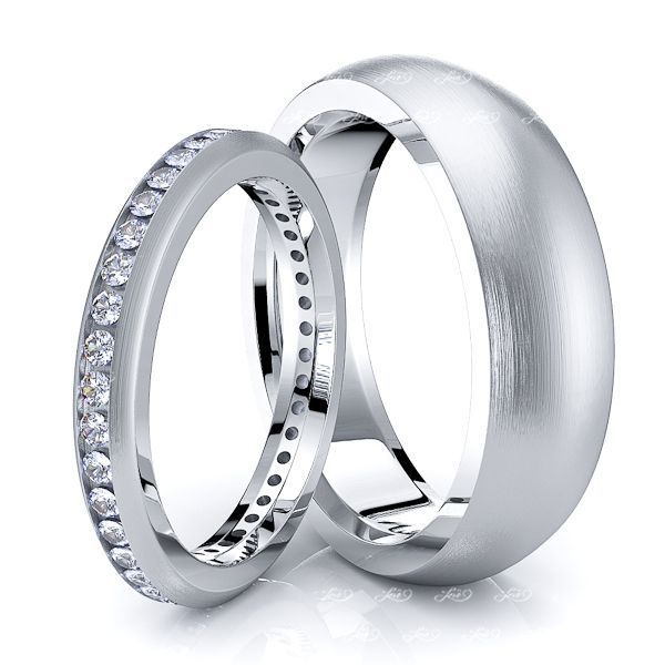 0.60 Carat Eternity 6mm His and 3mm Hers Diamond Wedding Band Set