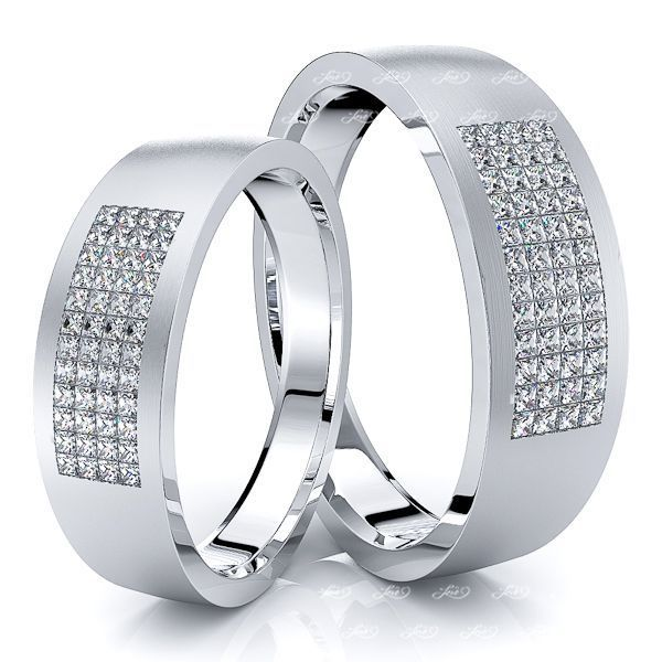 1.00 Carat 6mm Couples His and Hers Diamond Wedding Ring Set
