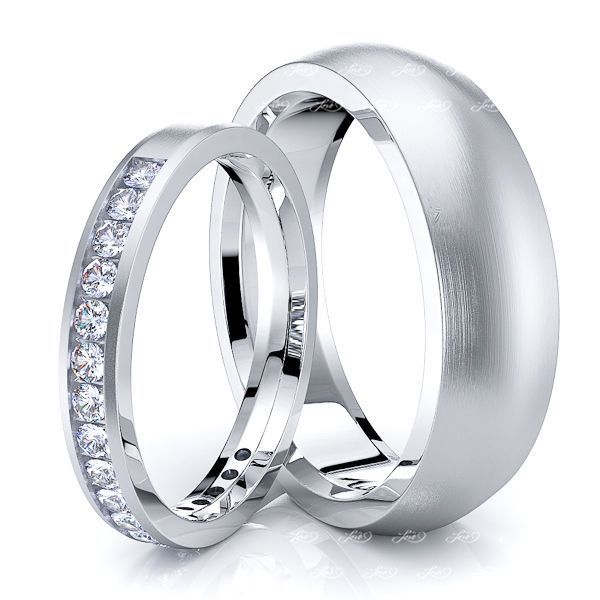 0.36 Carat 6mm His and 3mm Hers Diamond Wedding Ring Set