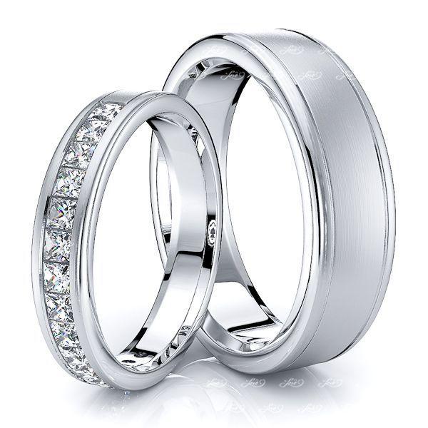 0.75 Carat Designer 6mm His and 4mm Hers Diamond Wedding Ring Set
