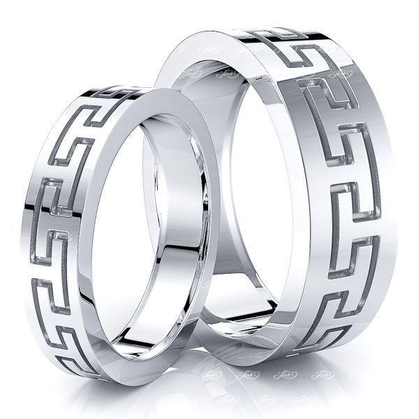 Inifinite Angular Design 7mm His and 5mm Hers Wedding Band Set