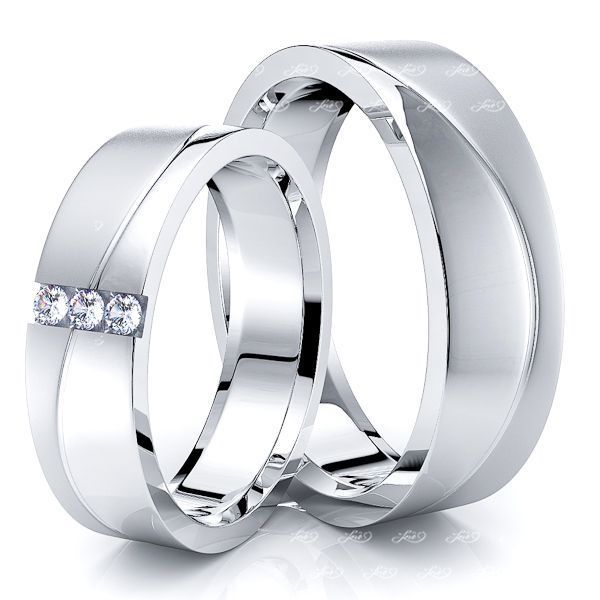0.09 Carat Wave Design 6mm His and Hers Diamond Wedding Band Set