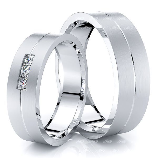 0.15 Carat Single Rail 6mm His and Hers Diamond Wedding Band Set
