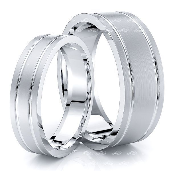 Grooved Basic Matching 7mm His and 5mm Hers Wedding Ring Set