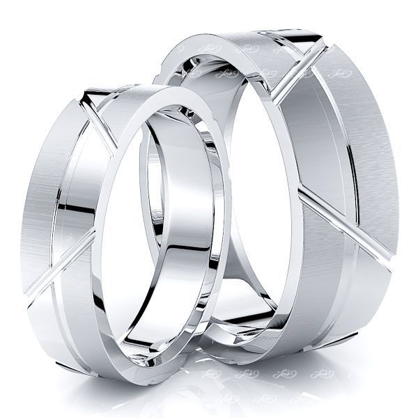 Unique Contemporary 7mm His and 5mm Hers Wedding Band Set