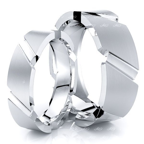 Sleek Modern Matching 7mm His and 5mm Hers Wedding Band Set
