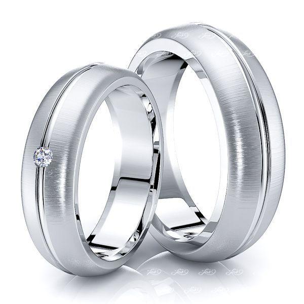 0.05 Carat Statement Piece 6mm His and Hers Diamond Wedding Ring Set