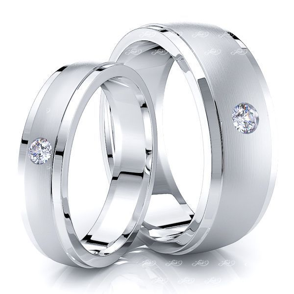 0.11 Carat Attractive 7mm His and 5mm Hers Diamond Wedding Ring Set