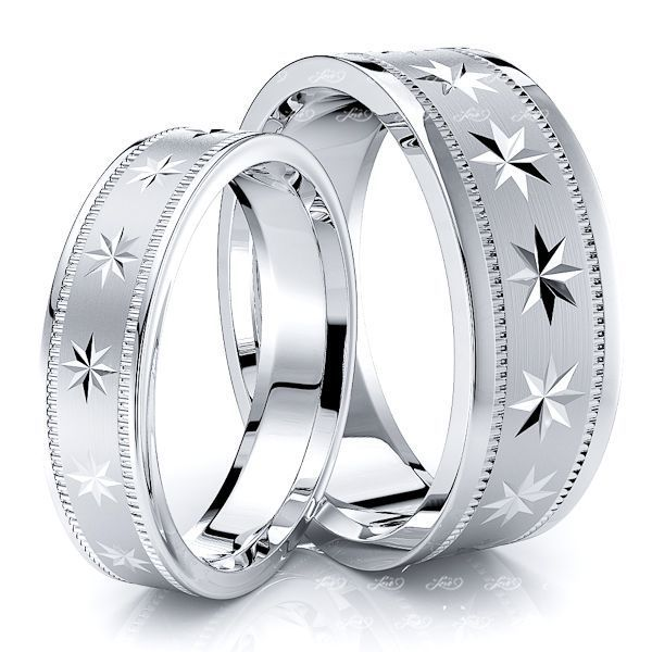 Compass Star Basic Design 7mm His and 5mm Hers Wedding Band Set