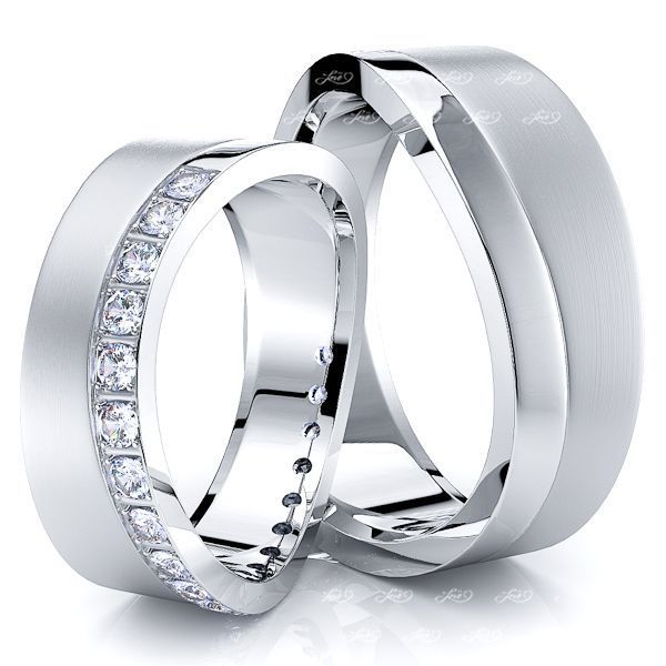 0.40 Carat Wavy Shaped Edge 7mm His and Hers Diamond Wedding Band Set