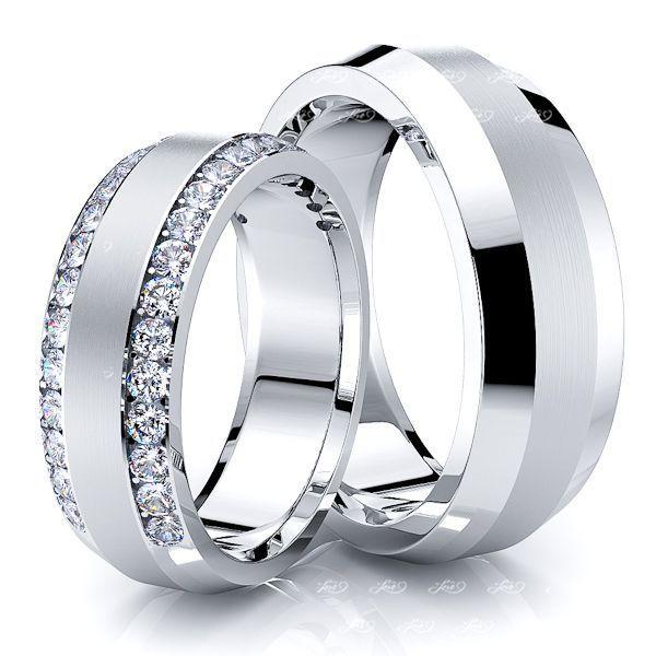 0.72 Carat Designer Elegant 7mm His and Hers Diamond Wedding Band Set