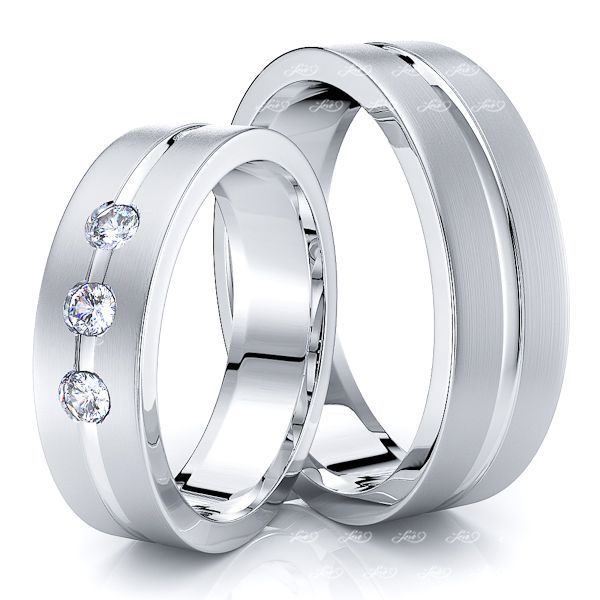 0.15 Carat Traditional Flat 6mm His and Hers Diamond Wedding Band Set