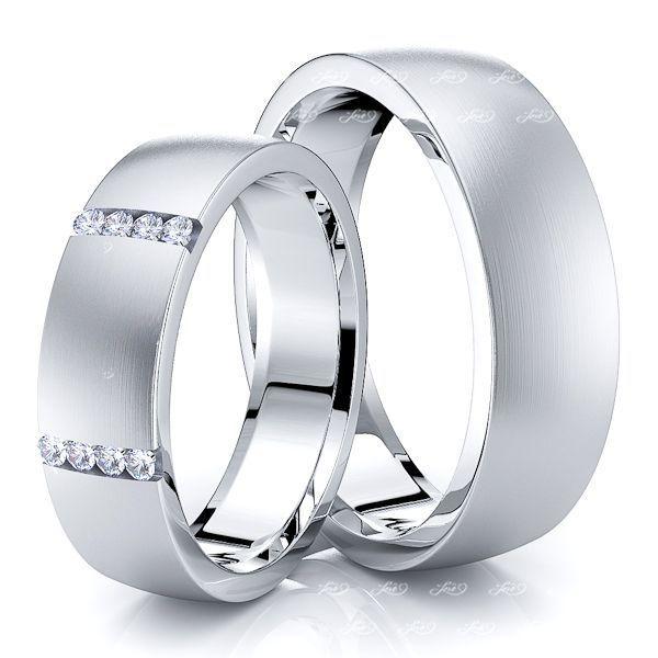 0.12 Carat Elegant 6mm His and Hers Diamond Wedding Ring Set