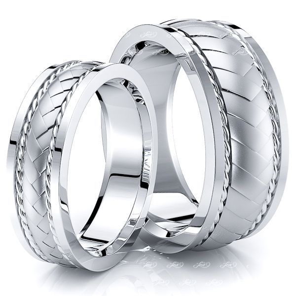 Twist Braided Matching 8mm His and 6mm Hers Wedding Band Set