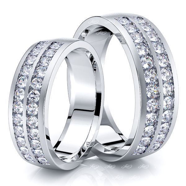 0.96 Carat Classic 6mm His and Hers Diamond Wedding Ring Set