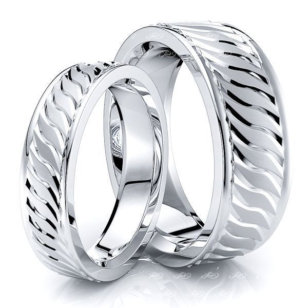 Sleek Fancy Matching 7mm His and 5mm Hers Wedding Band Set