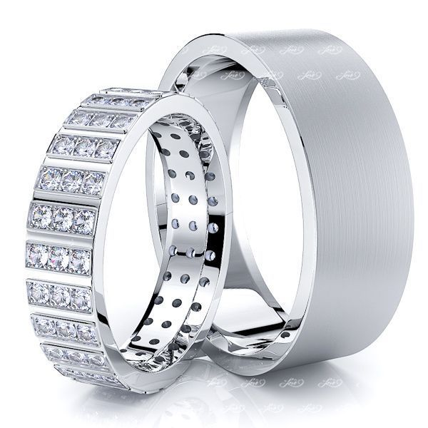 1.17 Carat Fancy Designer 7mm His and 5mm Hers Diamond Wedding Ring Set