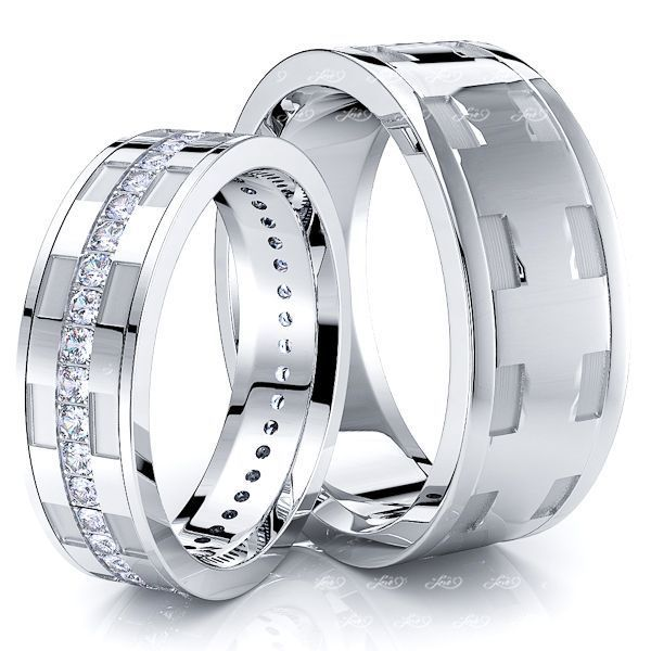 0.60 Carat Fancy Unique 7mm His and 5mm Hers Diamond Wedding Band Set