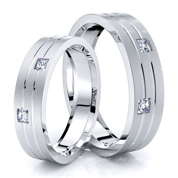 0.20 Carat Simple Elegant 5mm His and Hers Diamond Wedding Ring Set