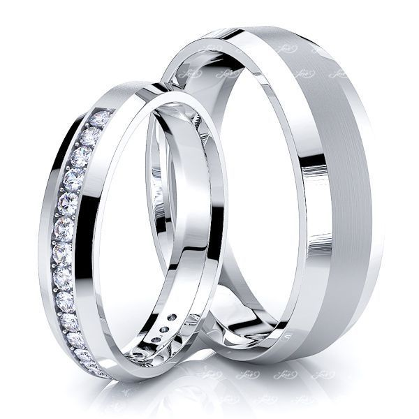 0.40 Carat Beveled Edge 6mm His and 4mm Hers Diamond Wedding Ring Set