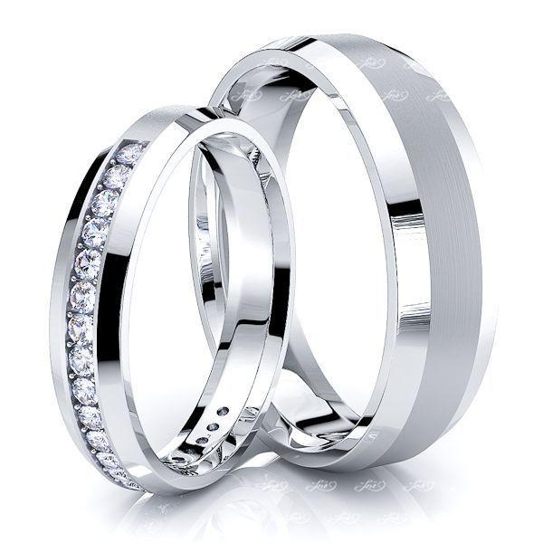 0.40 Carat Beveled Edge 6mm His and 4mm Hers Diamond Wedding Ring Set