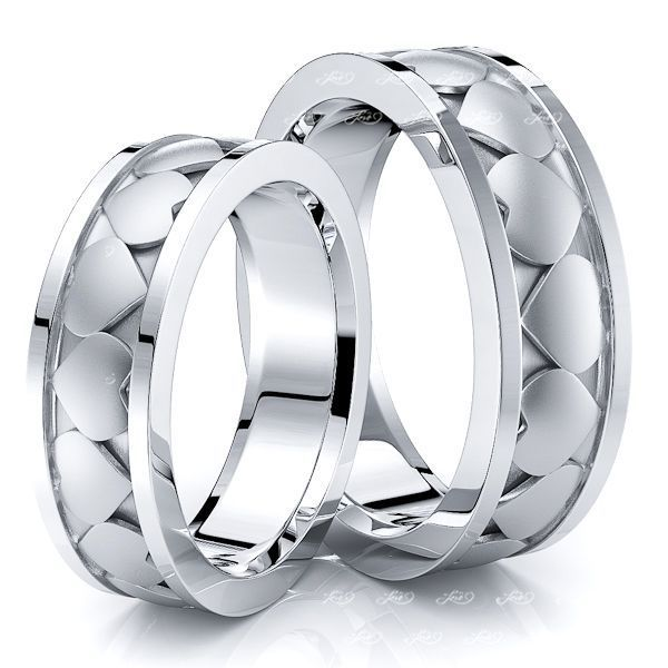 Exclusive Heart Design Matching 6mm His and Hers Wedding Ring Set