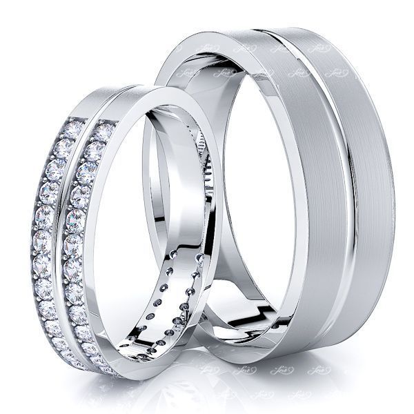 0.72 Carat Basic Carved 6mm His and  4mm Hers Diamond Wedding Band Set