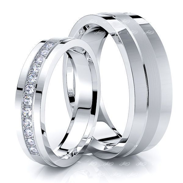 0.18 Carat Raised Center 6mm His and 4mm Hers Diamond Wedding Ring Set