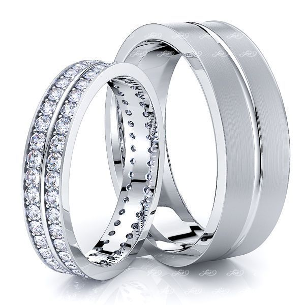 1.20 Carat Basic Carved 6mm His and  4mm Hers Diamond Wedding Band Set