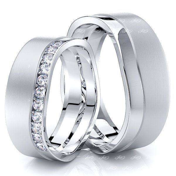 0.24 Carat Wavy Split 7mm His and Hers Diamond Wedding Band Set
