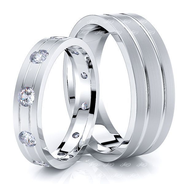 0.50 Carat Flat Modern 6mm His and 4mm Hers Diamond Wedding Ring Set