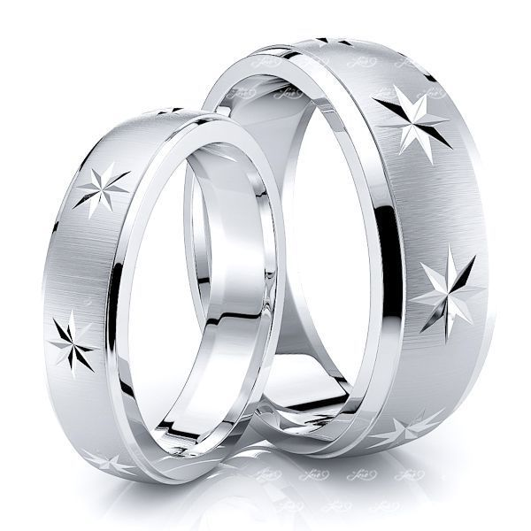 Exclusive Star Design Matching 7mm His and 5mm Hers Wedding Band Set