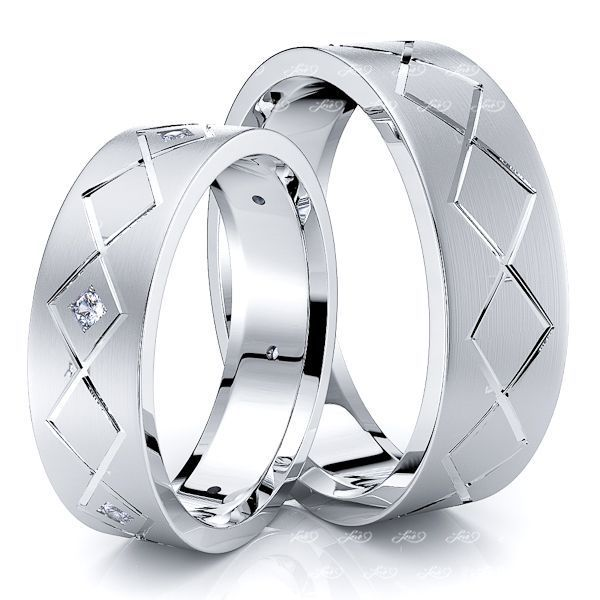 0.09 Carat Zig-Zag Design 6mm His and Hers Diamond Wedding Ring Set