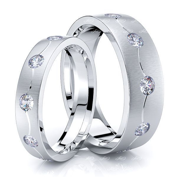 0.50 Carat Modern 6mm His and 4mm Hers Diamond Wedding Ring Set