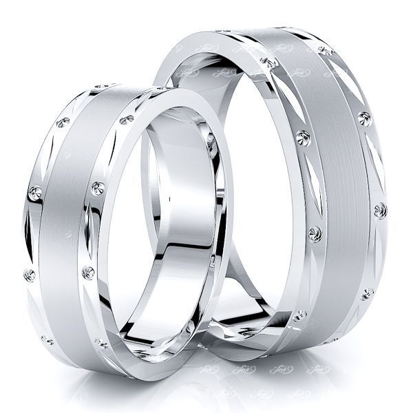 Exquisite Fancy Matching 6mm His and Hers Wedding Band Set