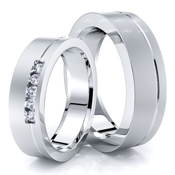 0.10 Carat Basic Designer 6mm His and Hers Diamond Wedding Ring Set