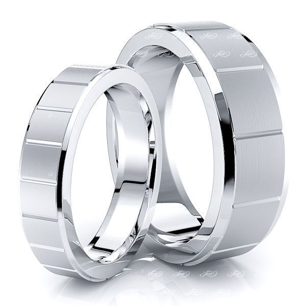 Squared Cut Matching 7mm His and 5mm Hers Wedding Ring Set
